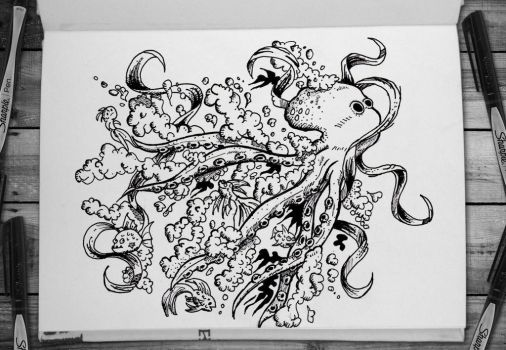 DOODLE: Octopus and Ribbons by rickprokosch