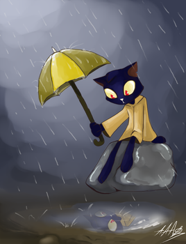 *Mae under rain* by JulieDraw2046