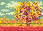 Autumn landscape with orange tree by kordiaknicholas