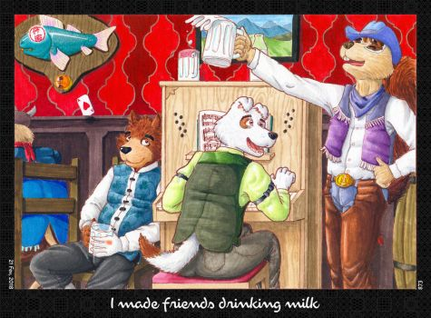 I made friends drinking milk by HweiChow