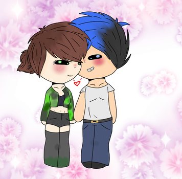 .:Chibi Chii and Omega 3:. by AphTheFoxDrawer1