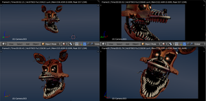 Nightmare Foxy V1 Wip - [FNaF 4 Blender Render] by ChuizaProductions