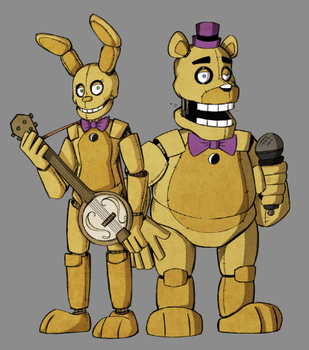 Spring Bonnie and Fredbear by theStupidButterfly