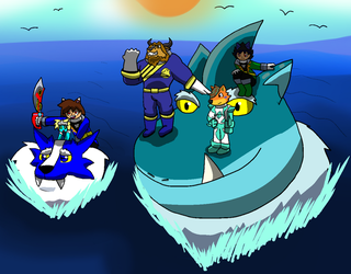 Furry Rangers: Riding Sharks by TheAnnonymousKat by BenBandicoot