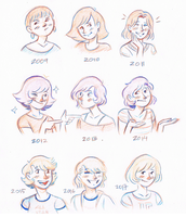 Inktober: Kristie throughout the years by GusDraws