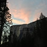 A Burst of Pink over Horstail Falls by Yosemite-Stories