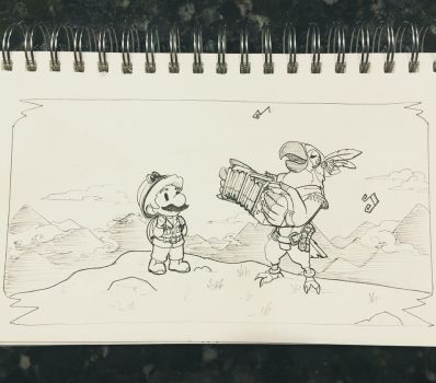 Inktober day 29: Parrot Plumber Pals by hollarity