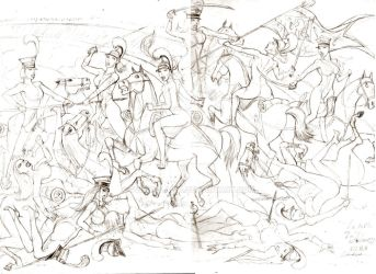 La battle de Alamossa (pencil rough) by Svetoslawa
