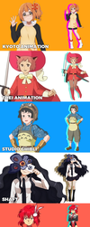 Animation Studios as Anime Girls! by Cioccolatodorima