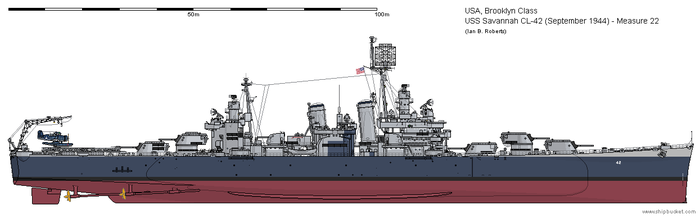 USS Savannah CL-42 (September 1944) - Measure 22 by ColosseumSB