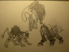 Suicune, Raikou, and Entei by 8bitsofawesome