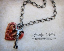Heart Lock and Key Necklace by ArteDiAmore