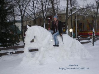 I and my snow sculpture Welsh pony by ElizavetaGorojankina