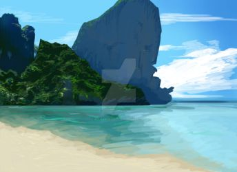 Beach digital painting by rockangel2410