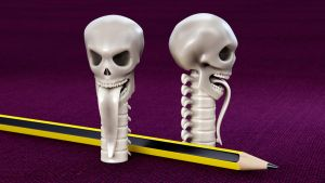 Skull Pencil Cap 3D print mode by M-O-Z-G