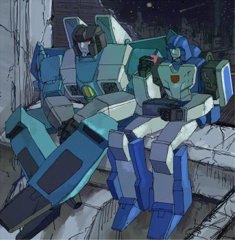 TRANSFORMERS  Thundercracker and Mirage by soma01357
