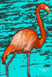 Florida pink flamingo STAMPED by cheriedesues