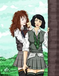 Pansy and Hermione by cathybytes