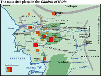 The most cited places in the Children of Hurin by Airyyn