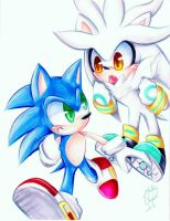 Sonic and Silver  by Moon--Shield