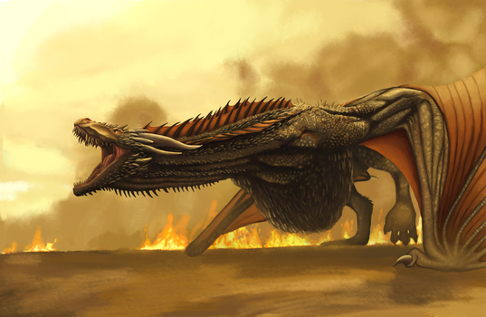 Drogon - completed digital painting by CaptainDishwasher