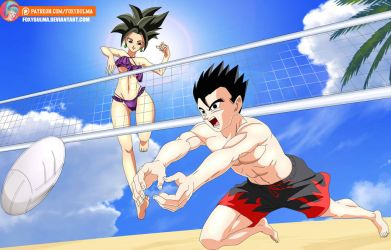 Commission - Kefla and Gohan playing volleyball by FoxyBulma