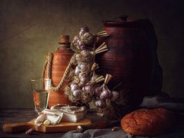 Still life with garlic by Daykiney
