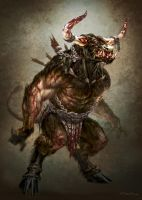 God of War III- Minotaur by andyparkart