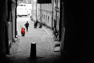 red moped by MbOscarsson