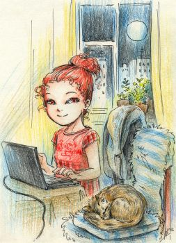 I and cat by Maria-Sandary