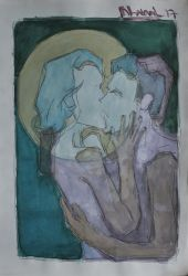 couple kissing by nhatanhArt