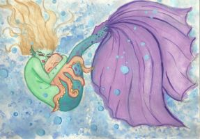 Mermaid in Water color by Winged-warrior