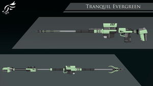 'Tranquil Evergreen' - RWBY OC Weapon(Commission) by DenalCC1010