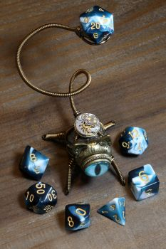 Steampunk Cat Good Luck Dice Buddy by CatherinetteRings