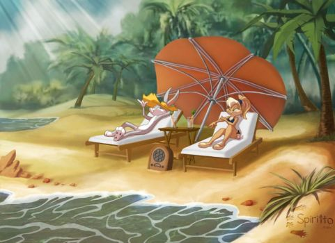 Bugs Bunny and Lola Bunny on vacation by I-BugsBunny-I