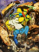 Bart Vs Homer by MrTuke