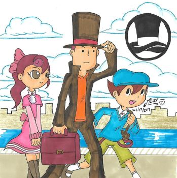 Professor Layton and his assistants by AlinkKiyoiYuusha