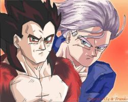 Vegeta SSJ4 + Trunks by The-Ebony-Phoenix
