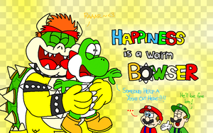 For IcePony64 - Happiness is a warm Bowser by AngryBirdsStuff