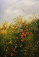 Wild poppies and a haystack by JoannaPartyka