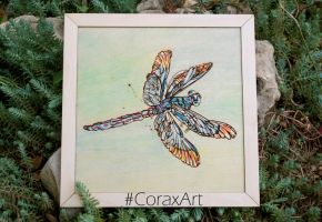 Wood Watercolor Wall Art 'Dragonfly' Laser Engrave by CoraxArt