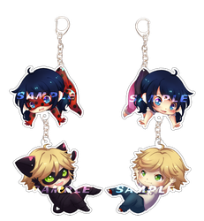 Ladybug and Chat Noir KEYCHAINS by criis-chan