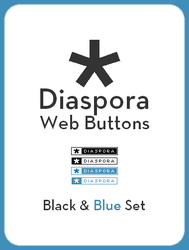 Diaspora Web Buttons Black And Blue Set by domesticempire