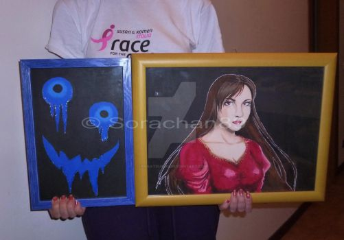 'Blue Guy' and 'Lady in Red' canvas by Hanatsuki89