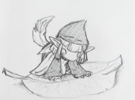 Sketch- Minish Vaati on a Leaf by Left-Handed-Knight
