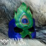 Single Peacock Feather Leather Mask by SilverCicada