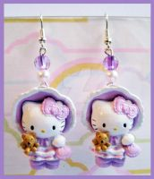 Lilac Hello Kitty Earrings by cherryboop