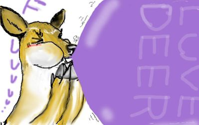 Female deer blowing big balloon by ahori