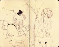 Mr. Elephant and Miss Bow by adayday