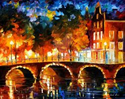 Amsterdam - Old Bridge by Leonid Afremov by Leonidafremov